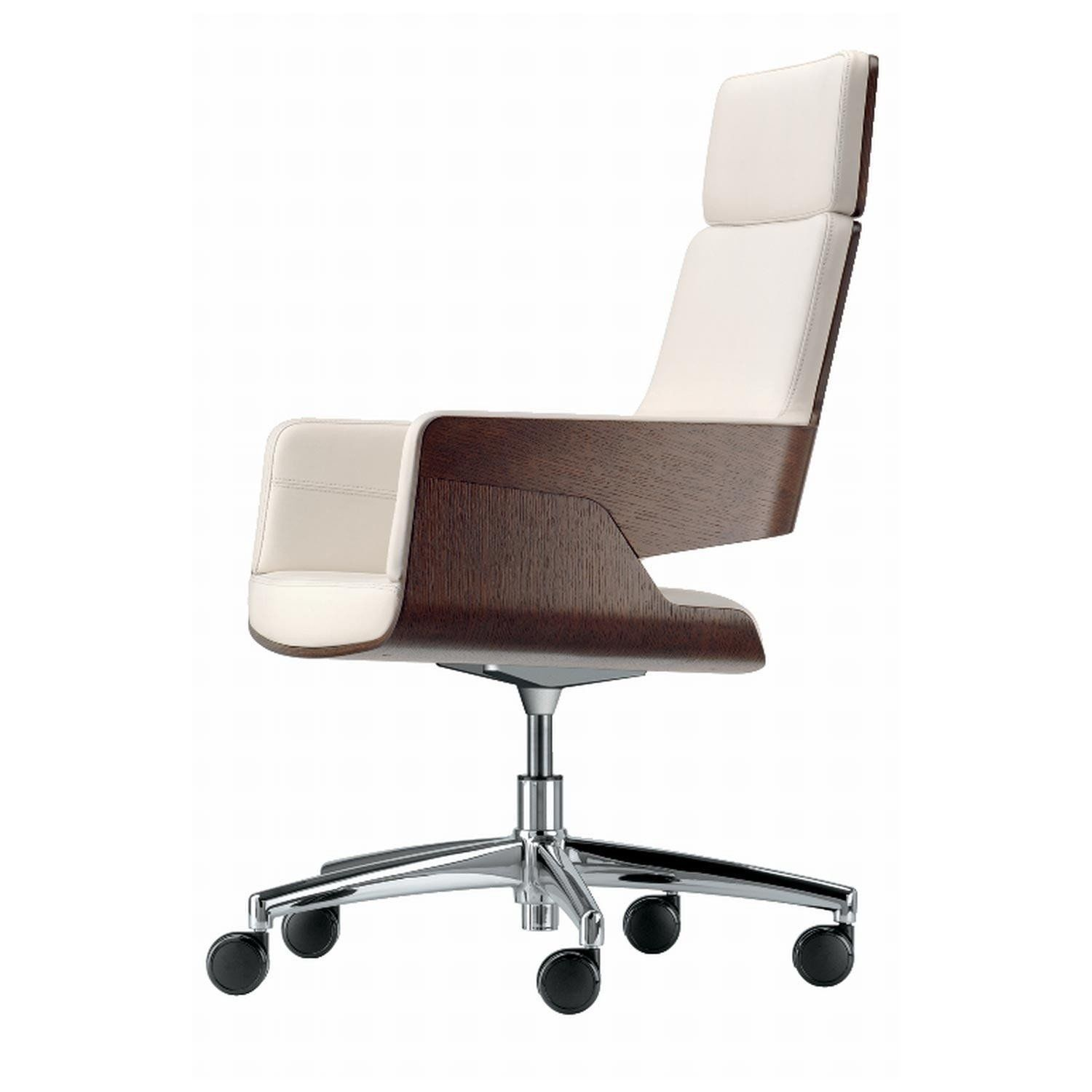 Thonet   Thonet S 845 DRWE Office Chair With Wheels   Stained Oak/leather  Linea