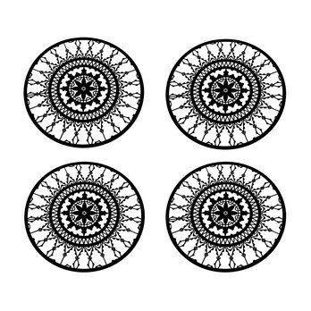 Driade - Italic Lace Round Coaster Untersetzer 4tlg. - schwarz/4 Stück/Ø 10cm