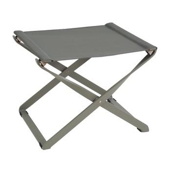 emu - Ciak Fußhocker klappbar - grau/grün/Sitzfläche EMU-Tex grau/grün/LxBxH 48x42x38cm/Gestell aluminium grau/grün