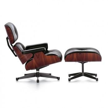 Vitra - Eames Lounge Chair Sessel & Ottoman - Leder Premium schwarz/Schale Santos Palisanderholz/Gestell poliert/Seiten schwarz/Ottoman: 63x56x42cm