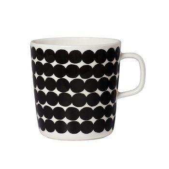 Marimekko - Räsymatto Becher 250ml - schwarz/weiß/Ø x H: 8 x 9cm