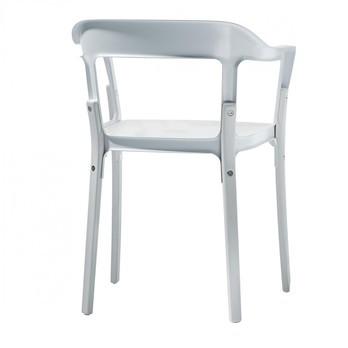Magis - Steelwood Chair Armlehnstuhl - weiß/lackiert/mit Filzgleitern