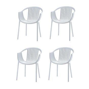Pedrali - Tatami Gartenstuhl mit Armlehnen 4er Set - weiß/UV-beständig/100% recyclebar