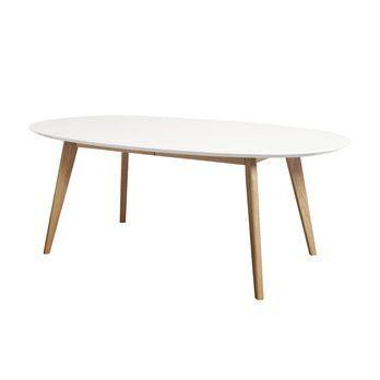 Andersen Furniture - DK10 Esstisch ausziehbar Beine Massivholz - weiß/Laminat/LxBxH 190x110x72cm/Gestell Eiche geölt