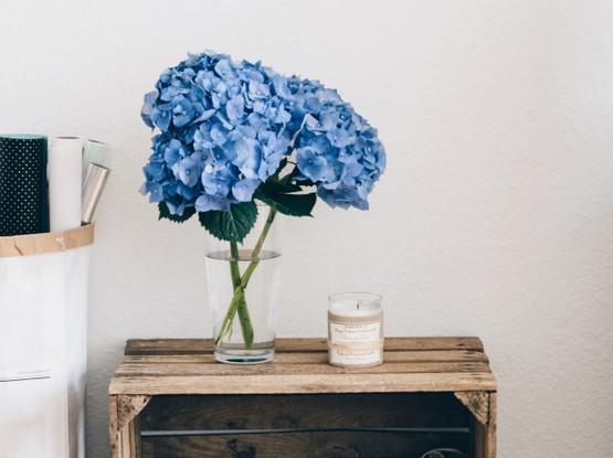 Beistelltisch mit Hortensien in blau
