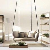 Kettal - Bitta Swing  Gartensofa / Hollywoodschaukel - braunes Geflecht/inkl.1 Sitz-/2 Rückenkissen Natte beige/inkl. Aufhängung (2x3,25m)