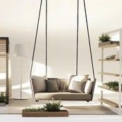 Kettal - Bitta Swing  Gartensofa / Hollywoodschaukel - braunes Geflecht/inkl.1 Sitz-/2 Rückenkissen 289 FOG laminate/inkl. Aufhängung (2x3,25m)
