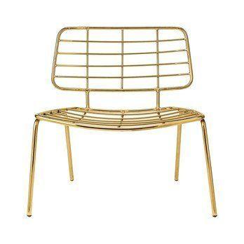 Bloomingville - Mesh Lounge Sessel - gold/70x70x60cm/Sitzhöhe: 38cm