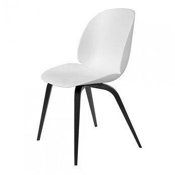Gubi - Beetle Dining Chair Stuhl mit Buchengestell - weiß/Sitz Polypropylen-Kunststoff/BxHxT 52x87x55cm/Gestell schwarze Buche