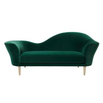 Gubi - Grand Piano 3-Sitzer Sofa - grün/Stoff Velluto di Cotone 787/BxHxT 220x80x77cm/Füße Eiche
