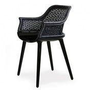 Magis - Cyborg Elegant Sessel/Armlehnstuhl - schwarz/glänzend/Rückenlehne schwarz Peddigrohr
