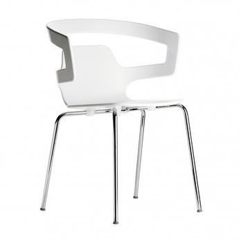 Alias - 500 Segesta Armlehnstuhl - weiß/Gestell verchromt