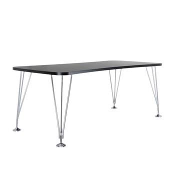 Kartell - Max Tisch 190x90cm - schiefergrau/Gestell verchromter Stahl/mit festen Standfüßen