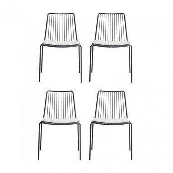 Pedrali - Nolita Gartenstuhl + Sitzkissen 4er Set - anthrazit/weiß/hohe Rückenlehne/BxHxT 55x84x60cm