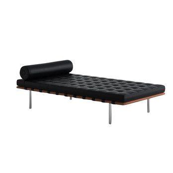 Knoll International - Barcelona Mies van der Rohe Liege Daybed  - schwarz/Gestell chrom/Leder Velluto Pelle/Rahmen: Hartholz mit klarem Schutzlack