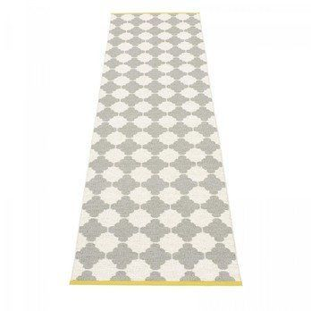 pappelina - Marre Teppich 70x300cm - grau/vanille/mustard stripe/wendbar