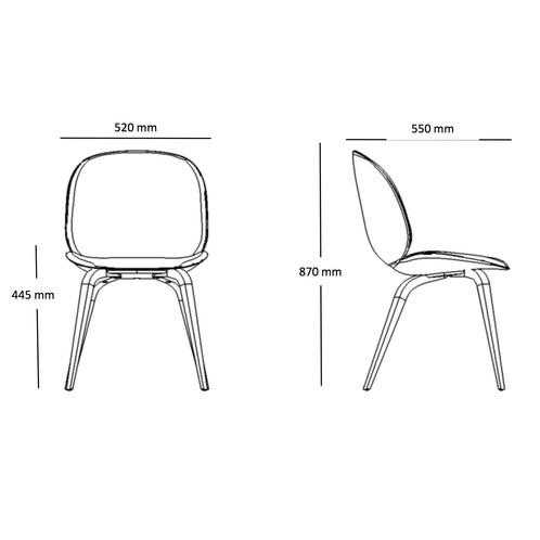 Gubi - Beetle Dining Chair Stuhl mit Eichengestell - Strichzeichnung