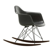 Vitra - Eames Fiberglass RAR schommelstoel onderstel zwart