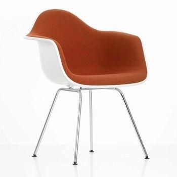 Vitra - Eames Plastic Armchair DAX Armlehnstuhl H41cm - weiß/Bezug Hopsak cognac/rot/Polypropylen/Vierbeingestell chrom/Originalhöhe