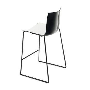 - Catifa 46 0474 Barhocker niedrig zweif. schwarz - weiß/schwarz/Außenschale glänzend/innen matt/Gestell schwarz matt V39/Sitzhöhe 64cm