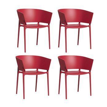 Vondom - Africa Armlehnstuhl 4er-Set - rot/matt/H x B: 75 x 58cm/für Innen- und Außenbereich geeignet