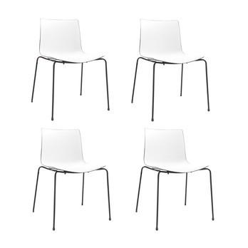 Arper - Catifa 46 0251 Stuhl zweifarbig 4er Set - weiß/schwarz/Außenschale glänzend/innen matt/Gestell schwarz matt V39/56.5x80x53.5cm