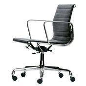 Vitra - EA 117 Aluminium Chair Bürostuhl - Leder schwarz/Gestell aluminium poliert/mit weichen Rollen