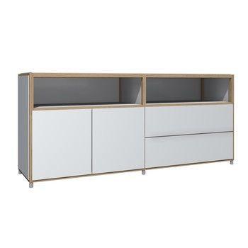 Flötotto - ADD H3 Sideboard/Kommode - weiß/Melamin/ Eiche gekalkt/163,7x43,7x72,8cm/2 Türen, 4 Schubladen