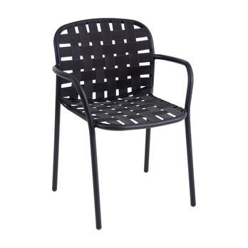 emu - Yard Gartenarmlehnstuhl - schwarz/elastische Gurte grau schwarz/BxHxT 58x81x55cm/Gestell aluminium schwarz