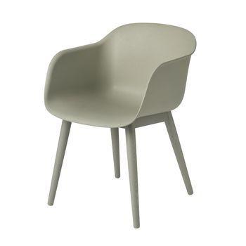 Muuto - Fiber Chair Armlehnstuhl mit Holzgestell - staubgrün/Gestell staubgrün