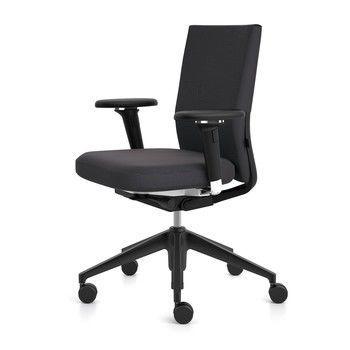 Vitra - ID Soft Citterio Bürostuhl basic dark - schwarz/Stoff Plano nero/Gestell basic dark schwarz/weiche Rollen/mit 2D-Armlehnen