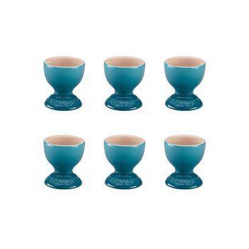 Le Creuset - Le Creuset Eierbecher 6er Set - blau karibik/glänzend