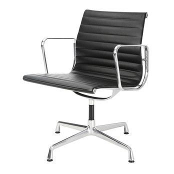 Vitra - EA 108 Aluminium Chair Bürostuhl - Leder schwarz/Gestell Aluminium poliert/mit Filzgleitern