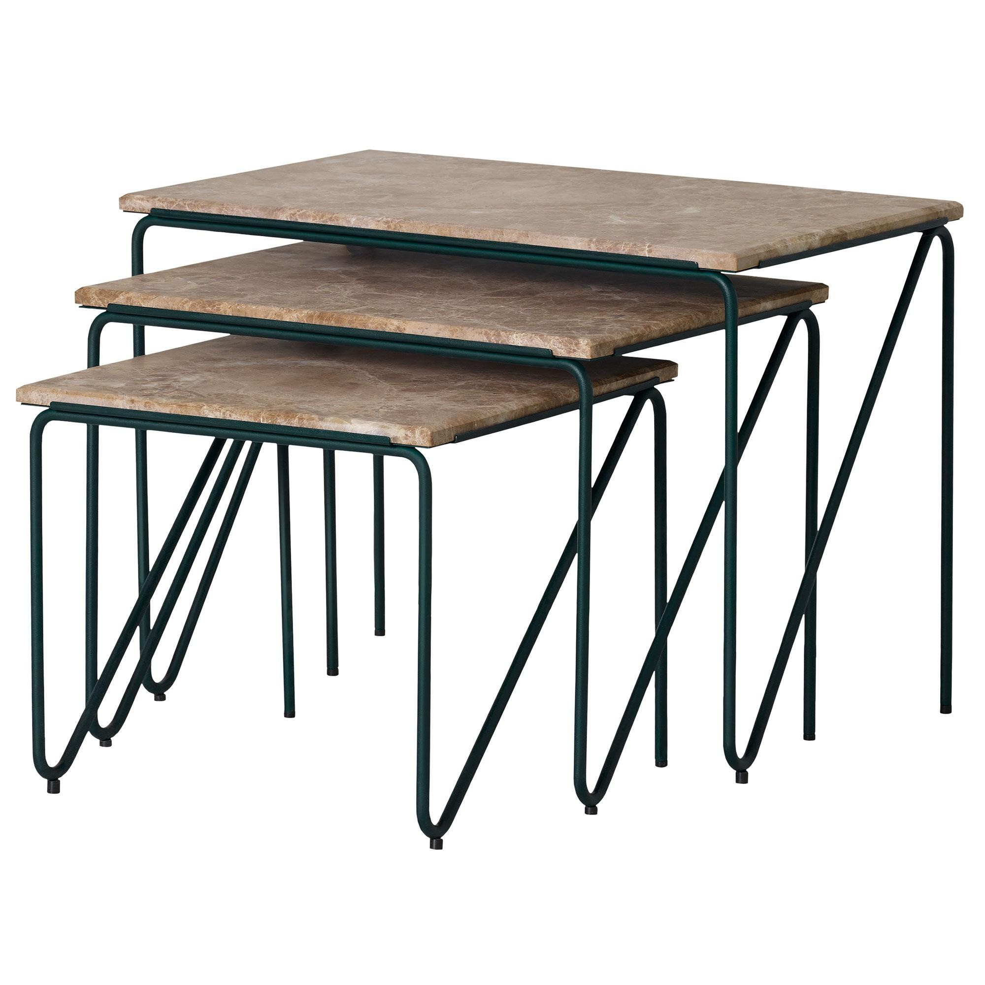 PLEASE WAIT to be SEATED Triptych Nesting Tables Beistelltisch 3er