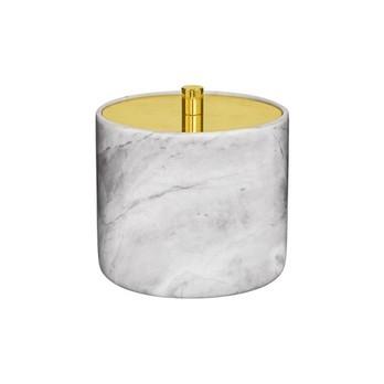 Bloomingville - Marble Dose mit Deckel - weiß/gold/Ø 9,5cm x H 10cm