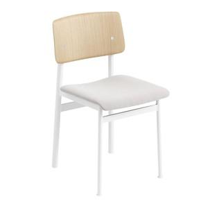 Muuto - Loft Chair Stuhl gepolstert - weiß/eiche/Sitzfläche Stoff Steelcut Trio 205/BxHxT 42,5x78,5x48cm/Gestell Stahl pulverbeschichtet