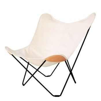 cuero - Canvas Mariposa Butterfly Chair Outdoor - white/Hemp White 43/frame black