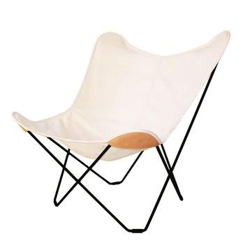 cuero - Canvas Mariposa Butterfly Chair Outdoorsessel - weiß/Hemp White 43/Gestell schwarz