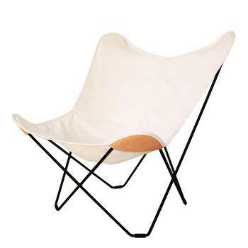 cuero - Canvas Mariposa Butterfly Chair Outdoorsessel - weiß/Gestell schwarz