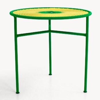Moroso - Banjooli Bistrotisch - grün/panama/handgeflochten/Fußgleiter aus PVC/H 72cm/Ø 75cm/Gestell Stahl lackiert