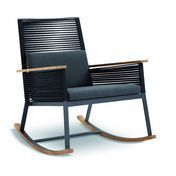 Kettal - Landscape Rocking Armchair - black/skids and armrests brown/cushion anthracite Natte Sooty 585
