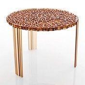 Kartell - T-table Beistelltisch (H36cm) - bernstein/transparent