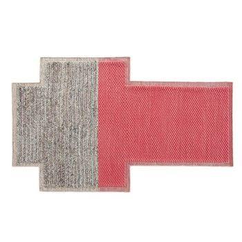 GAN - Mangas Space Rectangular Teppich  - koralrot/grau geflochten/100% neue Wolle/von Hand gewebt/250x160cm