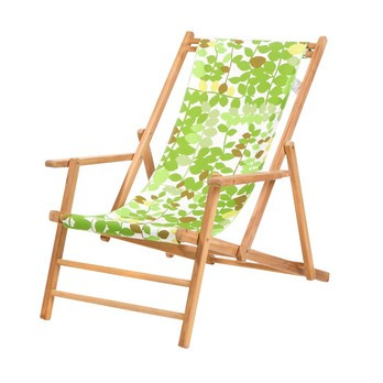 Jan Kurtz - Maxx Deckchair Designers Guild Liegestuhl - blume greenwich leaf/Bezug 100% Polyacryl/BxHxT 64x98x112cm/Gestell Teak massiv
