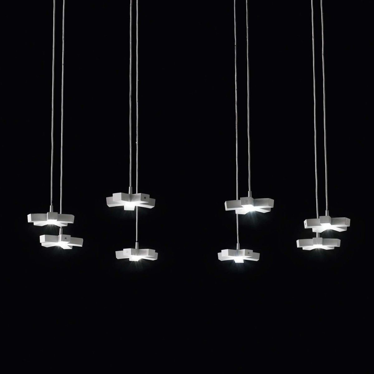 Silver light system suspension lamp nemo for Suspension a 3 lampes