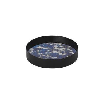 ferm LIVING - ferm LIVING Coupled Tablett rund - blau/schwarz/Gestell Metall pulverbeschichtet/H 3.2cm/Ø 16cm