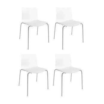 Arper - Catifa 46 0251 Stuhl einfarbig 4er Set - weiß/Außenschale glänzend/innen matt/Gestell verchromt/56.5x80x53.5cm
