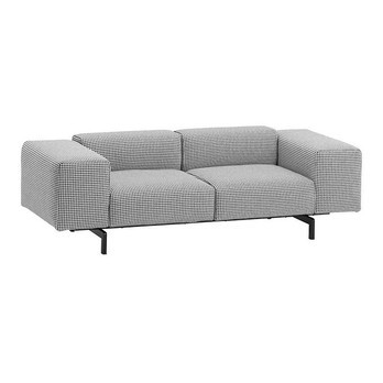Kartell - Largo 2-Sitzer Sofa - grau/Stoff Pied de Poule TG grau/Gestell Stahl schwarz lackiert/226x69x96cm