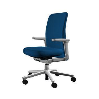 Vitra - Pacific Chair Bürostuhl niedriger Rücken - blau/Bezug Stoff 81 blue coconut/BxHxT 57,5x90x50cm/Gestell aluminium poliert/mit weichen Rollen