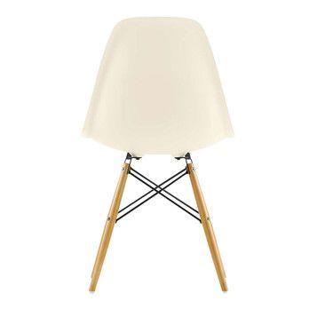 Vitra - Eames Plastic Side Chair DSW Stuhl H43cm - creme/Gestell Ahorn gelblich/mit Filzgleitern/neue Höhe